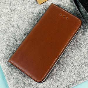 Moncabas Classic Genuine Leather iPhone SE Wallet Case - Brown