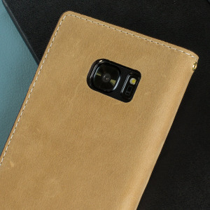 Moncabas Vintage Genuine Leather Samsung Galaxy S7 Wallet Case - Camel