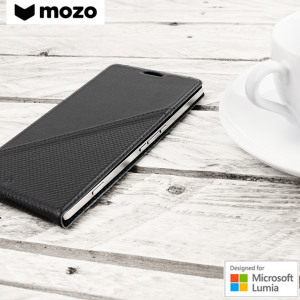 Mozo Microsoft Lumia 950 XL Genuine Leather Flip Cover - Black
