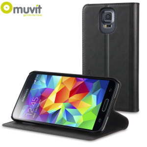 Muvit Folio Stand Case for Samsung Galaxy S5 - Black