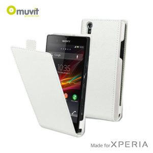 Muvit Slim Leather Style Flip Case for Sony Xperia Z - White