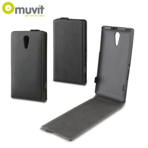 Muvit Slim Leather Style Flip Case for Sony Xperia ZR - Black