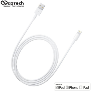 Naztech MFI Sync and Charge Lightning to USB Cable 4ft - White