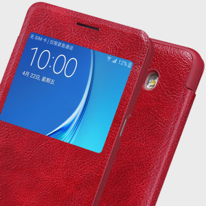 Nillkin Qin Real Leather Samsung Galaxy J7 2016 Window Case - Red