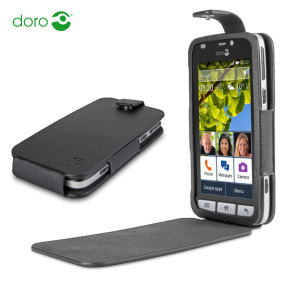 Official Doro Leather-Style Liberto 820 Flip Case - Black
