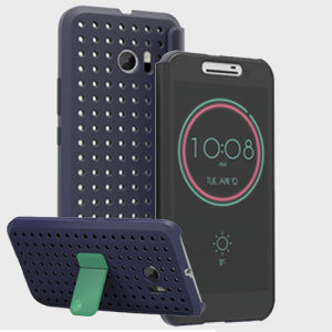 official htc 10 klik ice view case graphite blue 2