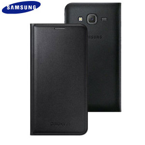 Official Samsung Galaxy J5 2015 Flip Wallet Cover - Black
