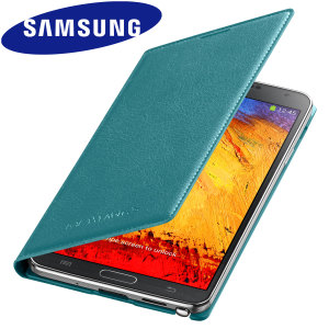 Official Samsung Galaxy Note 3 Flip Wallet Cover - Blue Lime