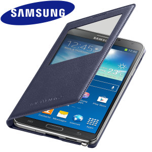 Official Samsung Galaxy Note 3 S-View Premium Cover Case - Indigo Blue