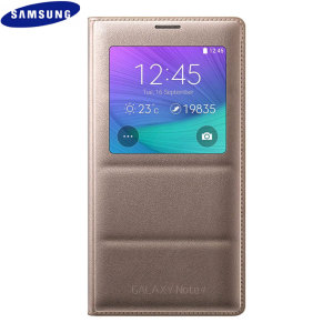 Official Samsung Galaxy Note 4 S View Cover Case - Gold