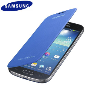 Official Samsung Galaxy S4 Mini Flip Case Cover - Cyan