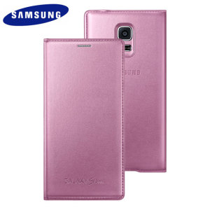 Official Samsung Galaxy S5 Mini Flip Case Cover - Metallic Pink