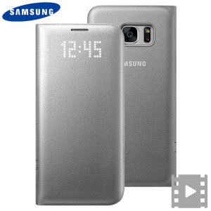 Official Samsung Galaxy S7 Edge LED Flip Wallet Cover - Silver