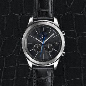 Official Samsung Gear S3 Alligator Grain Leather Strap - Black