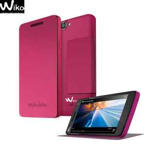 Official Wiko Rainbow Folio Case with Stand - Fuchsia