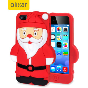 Olixar 3D Santa iPhone 5S / 5 Silicone Case - Red / Black