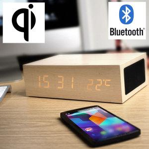 Olixar EU Qi-Tone Alarm Clock Bluetooth Charging Speaker - Light Wood