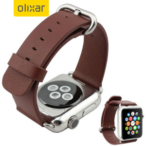 Olixar Genuine Leather Apple Watch Series 2 / 1 Strap - 42mm - Brown
