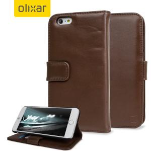 Olixar Genuine Leather iPhone 6S Plus / 6 Plus Wallet Case - Brown
