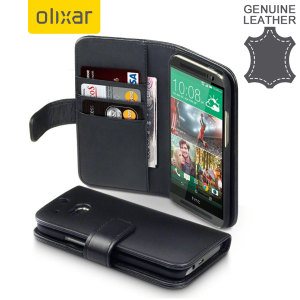 Olixar HTC One M8 Genuine Leather Wallet Case - Black