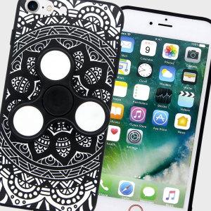 Olixar iPhone 7 Fidget Spinner Pattern Case - Black / White