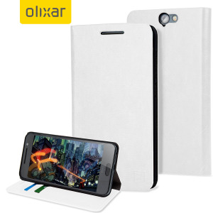 Olixar Leather-Style HTC One A9 Wallet Stand Case - White
