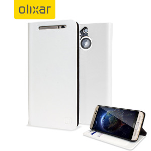Olixar Leather-Style HTC One M9 Plus Wallet Stand Case - White