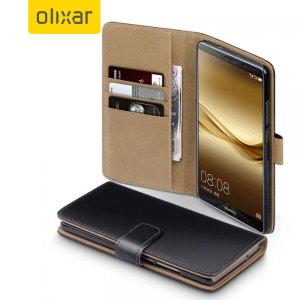 Olixar Leather-Style Huawei Mate 8 Wallet Case - Black / Tan