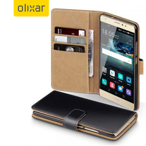 Olixar Leather-Style Huawei Mate S Wallet Case - Black / Tan