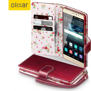 Olixar Leather-Style Huawei Mate S Wallet Case - Floral Red