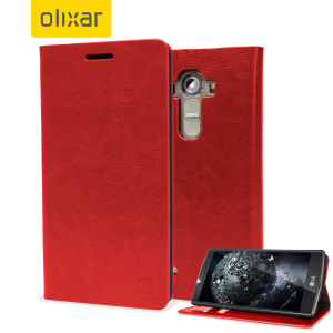 Olixar leather style lg g5 wallet stand case red