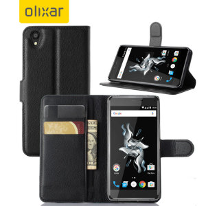 Olixar Leather-Style OnePlus X Wallet Case - Black