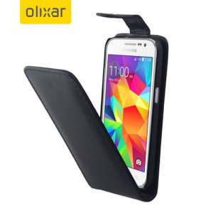 Olixar Leather-Style Samsung Galaxy Core Prime Flip Case - Black