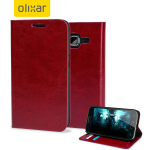 Olixar Leather-Style Samsung Galaxy Core Prime Wallet Case - Red