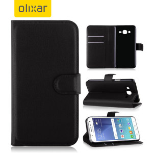 Olixar Leather-Style Samsung Galaxy J5 2015 Wallet Stand Case - Black