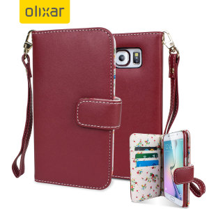 Olixar Leather-Style Samsung Galaxy S6 Wallet Case - Floral Red