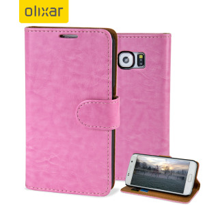 Olixar Leather-Style Samsung Galaxy S6 Wallet Case - Light Pink