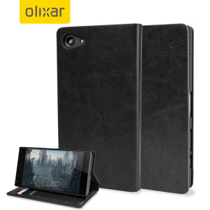 Olixar Leather-Style Sony Xperia Z5 Compact Wallet Stand Case - Black