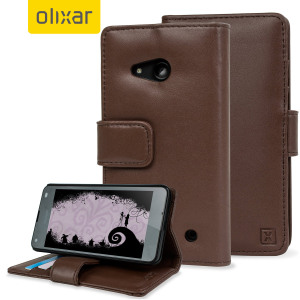Olixar Microsoft Lumia 550 Genuine Leather Wallet Case - Brown