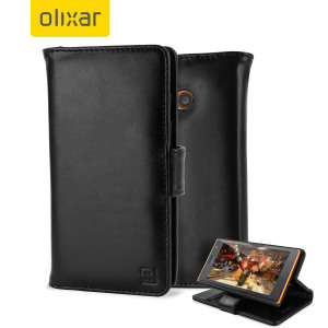 Olixar Nokia Lumia 735 Genuine Leather Wallet Case - Black