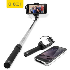 olixar pocketsize iphone selfie stick with mirror black. Black Bedroom Furniture Sets. Home Design Ideas