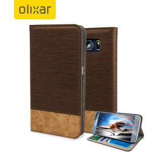 Olixar Premium Fabric Samsung Galaxy S6 Wallet Case - Dark Brown