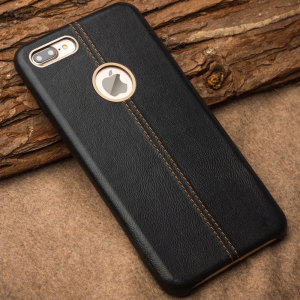 Olixar Premium Genuine Leather iPhone 7 Plus Case - Black