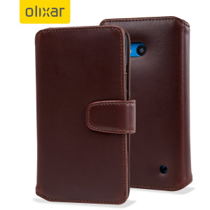 Olixar Premium Genuine Leather Microsoft Lumia 640 Wallet Case - Brown