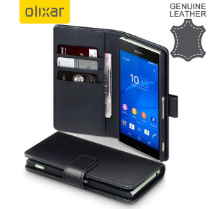 Olixar Premium Genuine Leather Sony Xperia Z3 Wallet Case - Black