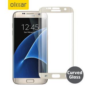Olixar Samsung Galaxy S7 Edge Curved Glass Screen Protector - Gold