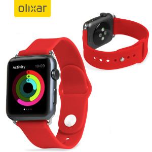 Olixar Silicone Rubber Apple Watch 2 / 1 Sport Strap - 38mm - Red