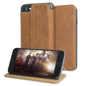 Olixar Slim Genuine Leather Flip iPhone 7 Wallet Case - Tan