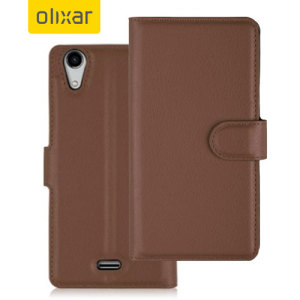 Olixar Wiko Rainbow UP 4G Wallet Case - Brown