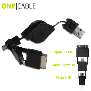 OneCable Apple Lightning, 30 Pin and Micro USB Sync and Charge Cable